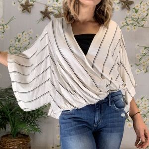 Free People kimono sleeve stripe faux wrap blouse